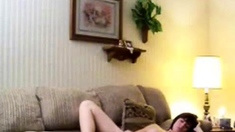 Hidden cam. NOT My sister home alone masturbates on couch