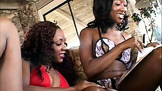 Gorgeous caramel lesbians use a few sex toys and offer each other intense pleasure