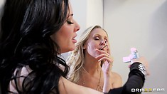 Julia Ann and Veronica Avluv smoking after a nice lesbian porno