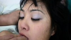 Shai gives some mouth love to his long dong and gets dinged in her Asian derriere