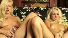 Hot girls Jana Cova and Bobbi Eden moan through some intense orgasms